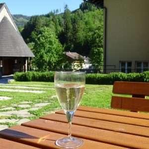 Genießen Sie einen Drink auf der Terrasse im Haus Schneeberg