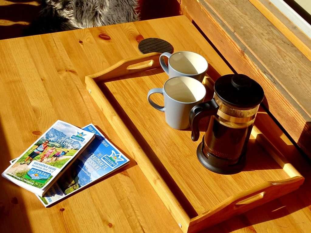 Selbhorn coffee on balcony Haus Schneeberg, Hochkoenig
