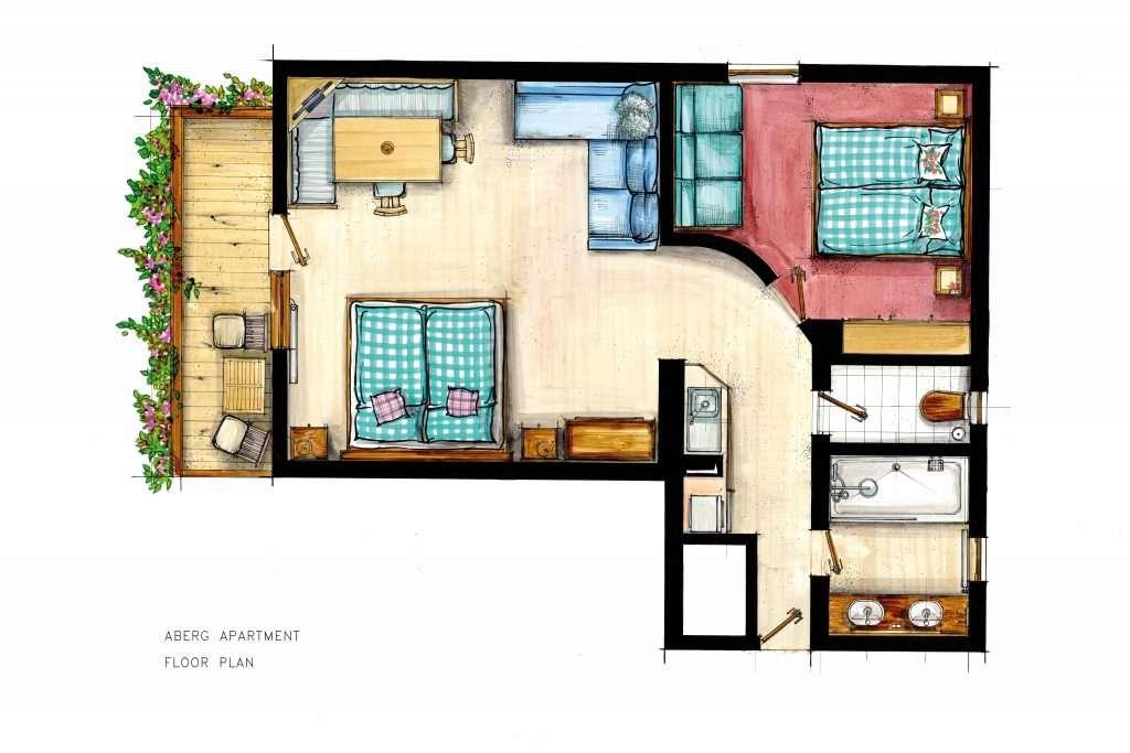 Aberg apartment floor plan - Haus Schneeberg< Hochkoenig