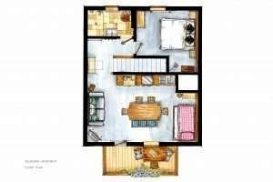Grundriss der Selbhorn Wohnung, Haus Schneeberg, Hochkoenig