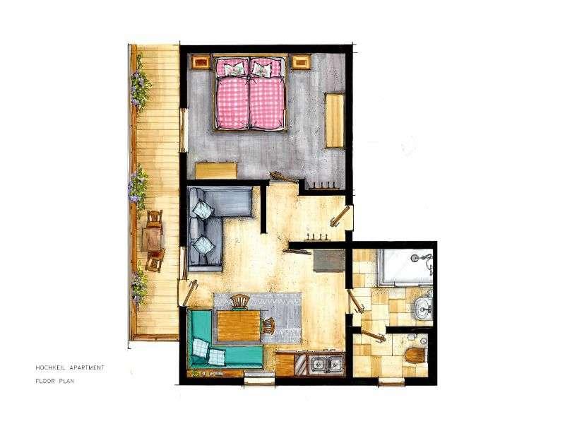 Hochkeil lakás elrendezése, Haus Schneeberg